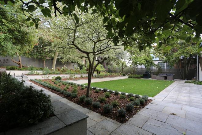 Spacious tiered garden landscaping